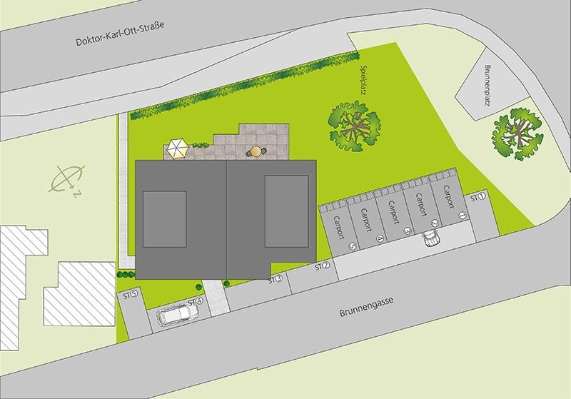 Hausbau-Huber_BV-Muehlingen_Lageplan